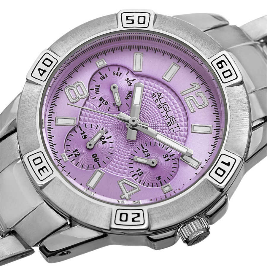 August Steiner Men's Japanese Quartz Colorful Dial Multifunction Bracelet Watch AS8143SSPU