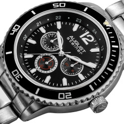 August Steiner Men's Japanese Quartz Multifunction Divers Bracelet Watch - Thumbnail
