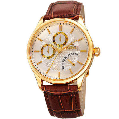 August Steiner - August Steiner Men's Multifunction Genuine Leather Strap Watch AS8209YGBR