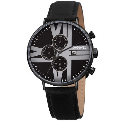 August Steiner - August Steiner Men's Multifunction Genuine Leather Strap Watch AS8212BK