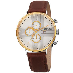 August Steiner Men's Multifunction Genuine Leather Strap Watch AS8212YGWT - Thumbnail