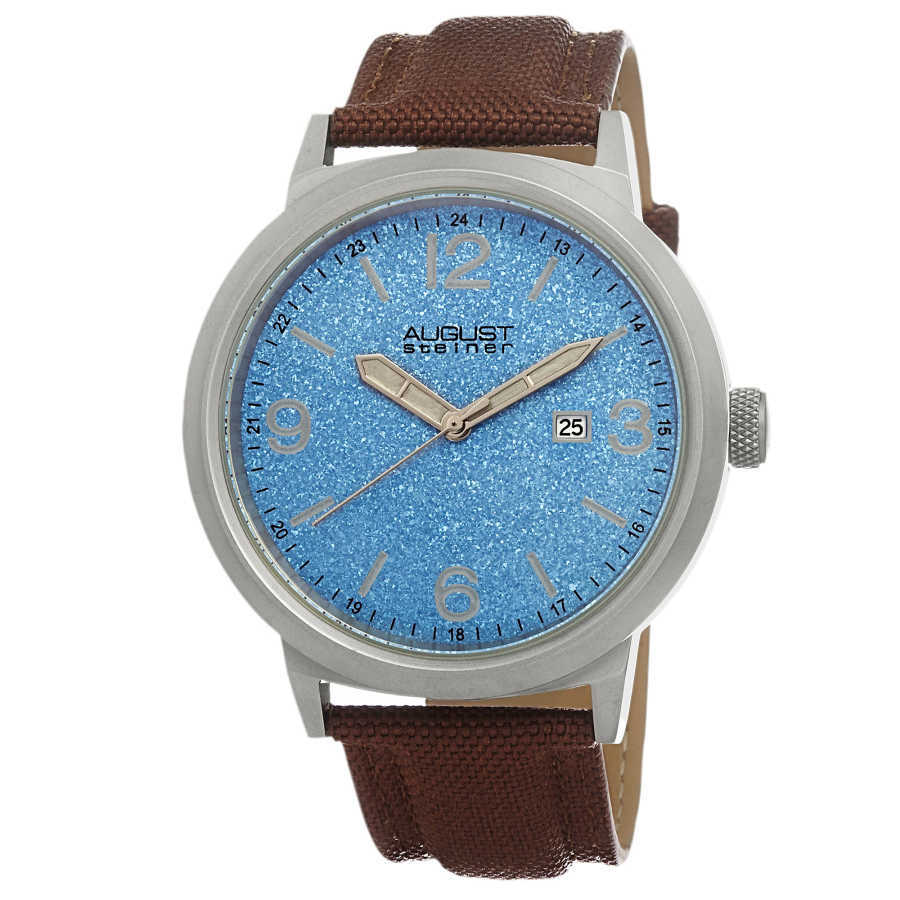 August Steiner Men's Quartz Sparkling Matte Dial Canvas Strap Watch AS8088BU