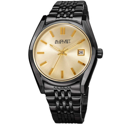August Steiner - August Steiner Men's Sunburst Effect Dial Date Stainless Steel Bracelet Watch AS8235BK