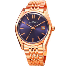 August Steiner Men's Sunburst Effect Dial Date Stainless Steel Bracelet Watch AS8235RGBU - Thumbnail