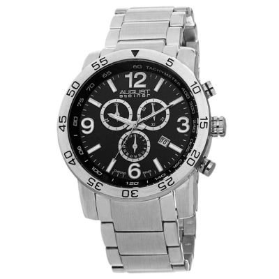 August Steiner - August Steiner Men's Swiss Quartz Chronograph Tachymeter Bracelet Watch AS8097SSB