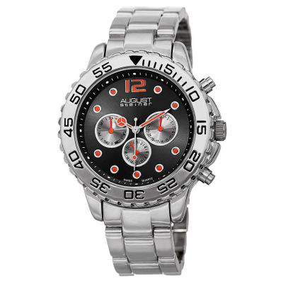 August Steiner - August Steiner Men's Swiss Quartz Colored Dial Dual Time Zone Bracelet Watch AS8158SSB