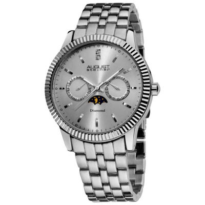 August Steiner - August Steiner Men's Swiss Quartz Multifunction Diamond Bracelet Watch AS8050SS