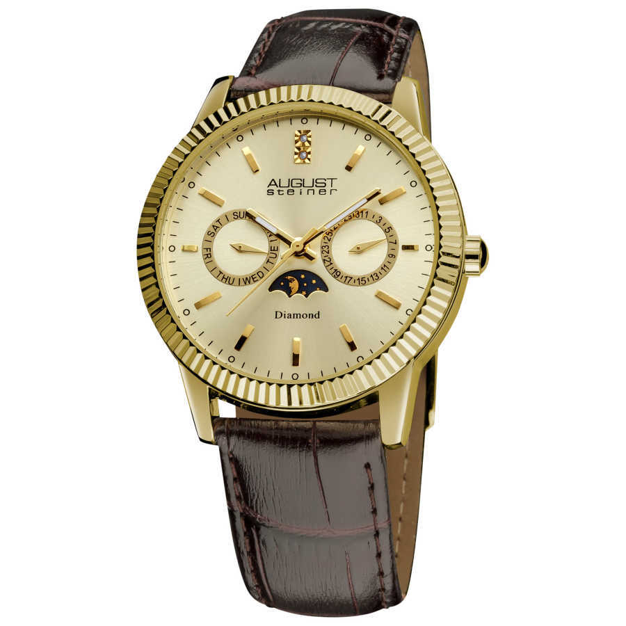 August Steiner Men's Swiss Quartz Multifunction Diamond Leather-strap Watch AS8051YG