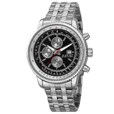 August Steiner - August Steiner Men's Swiss Quartz Multifunction Dual Time Stainless Steel Bracelet Watch AS8162SSB