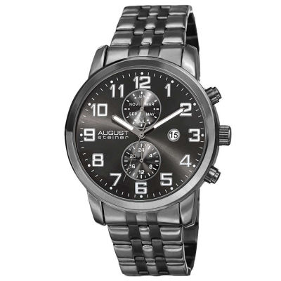 August Steiner - August Steiner Men's Swiss Quartz Multifunction Dual-Time Stainless Steel Bracelet Watch AS8175BK