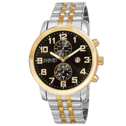 August Steiner Men's Swiss Quartz Multifunction Dual-Time Stainless Steel Bracelet Watch - Thumbnail