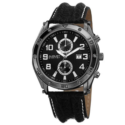 August Steiner - August Steiner Men's Swiss Quartz Multifunction Genuine Leather Strap Watch AS8117BK