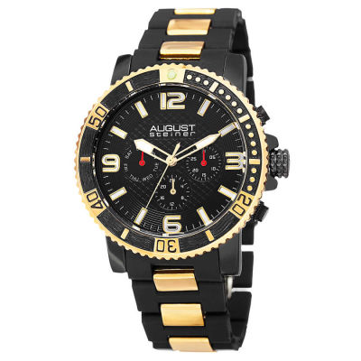August Steiner - August Steiner Men's Swiss Quartz Multifunction Rotating Bezel Alloy Mid-link Bracelet Watch AS8179YG