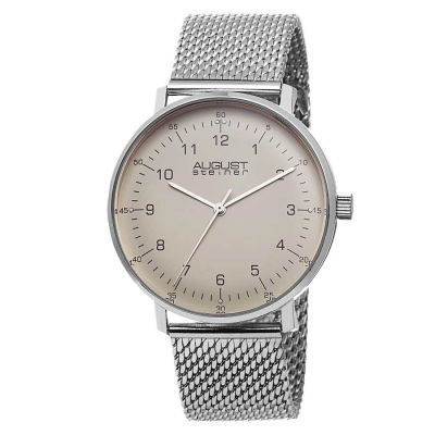 August Steiner - August Steiner Men's Swiss Quartz Stainless Steel Mesh Bracelet Watch AS8091SS