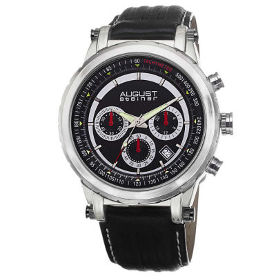 August Steiner - August Steiner Men's Tachymeter Chronograph Genuine Leather Strap Watch AS8085BK