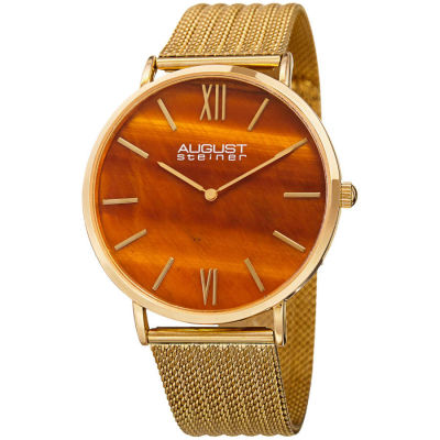 August Steiner - August Steiner Men's Tiger Eye Stone Fine Mesh Bracelet Watch AS8218YG
