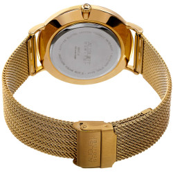 August Steiner Men's Tiger Eye Stone Fine Mesh Bracelet Watch AS8218YG - Thumbnail
