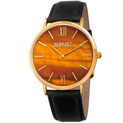 August Steiner Men's Yellow Tiger Eye Stone Dial Genuine Leather Strap Watch AS8211YGYL - Thumbnail