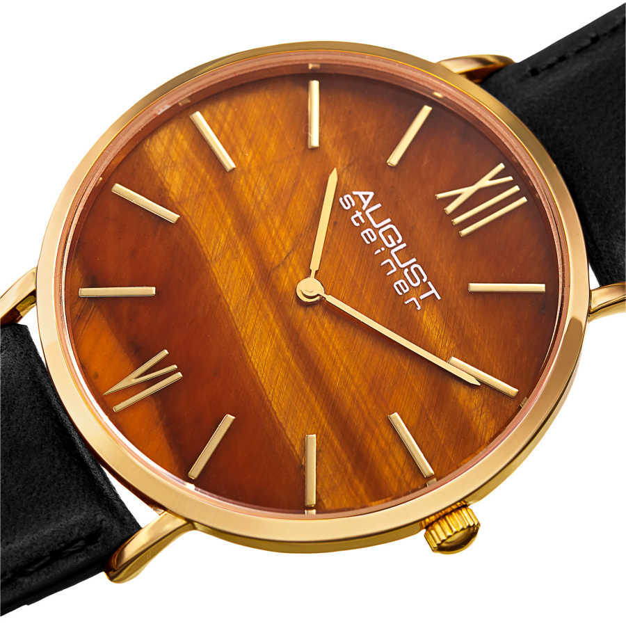 August Steiner Men's Yellow Tiger Eye Stone Dial Genuine Leather Strap Watch AS8211YGYL