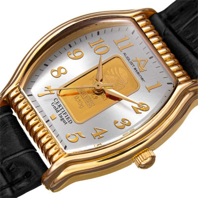 August Steiner - August Steiner Women's .10g Gold Bar Tonneau Croco Leather Strap Watch AS8225YGB