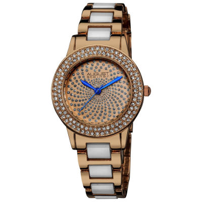 August Steiner - August Steiner Women's Crystal Glitz Ceramic Link Rose-Tone Bracelet Watch AS8052RG