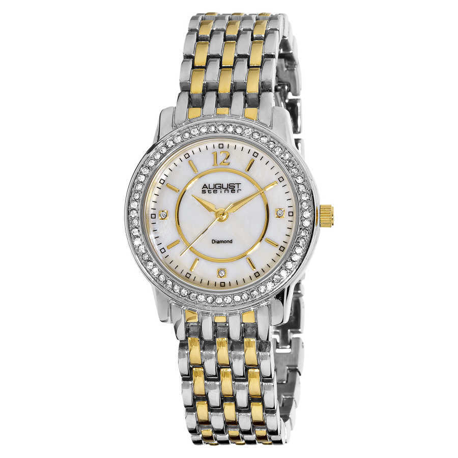August Steiner Women's Dazzling Diamond Bracelet Watch with Mother-of-Pearl Dial AS8027TTG