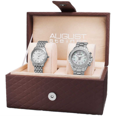 August Steiner - August Steiner Women's Diamond-Accented MOP Quartz Bracelet Watch Set AS8171SS