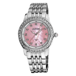 August Steiner Women's Diamond and Crystal Swiss Quartz Bracelet Watch with Pink Dial AS8045PK - Thumbnail
