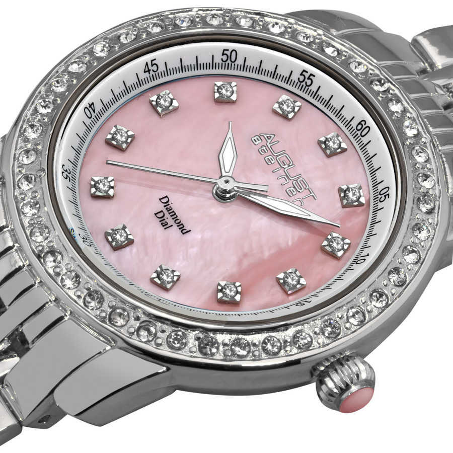 August Steiner Women's Diamond and Crystal Swiss Quartz Bracelet Watch with Pink Dial AS8045PK