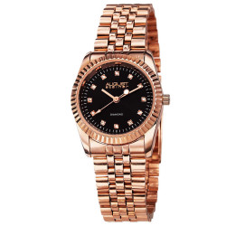 August Steiner Women's Diamond and Stainless-Steel Bracelet Watch with Black Enamel Dial AS8046RG - Thumbnail