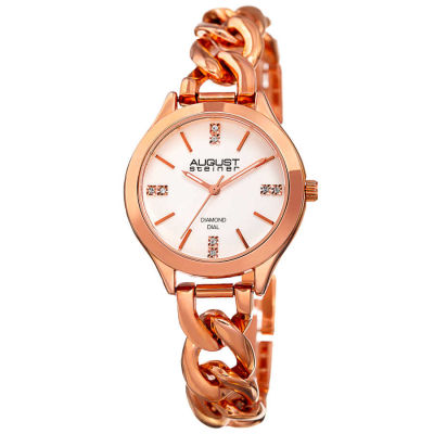 August Steiner - August Steiner Women's Genuine Diamond Chain Link Bracelet Watch AS8222RG