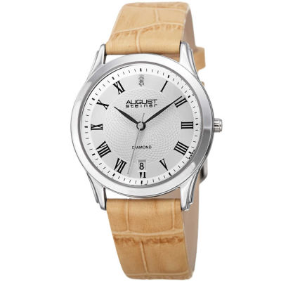 August Steiner - August Steiner Women's Genuine Diamond Croco Leather Strap Watch AS8208BG