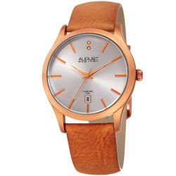 August Steiner Women's Genuine Diamond Date Display Leather Strap Watch AS8233RG - Thumbnail