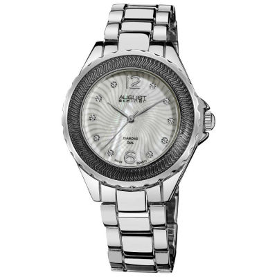 August Steiner - August Steiner Women's Genuine Diamond Mother of Pearl Bracelet Watch in Silver-Tone Finish AS8064SS
