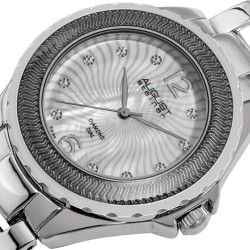 August Steiner Women's Genuine Diamond Mother of Pearl Bracelet Watch in Silver-Tone Finish AS8064SS - Thumbnail