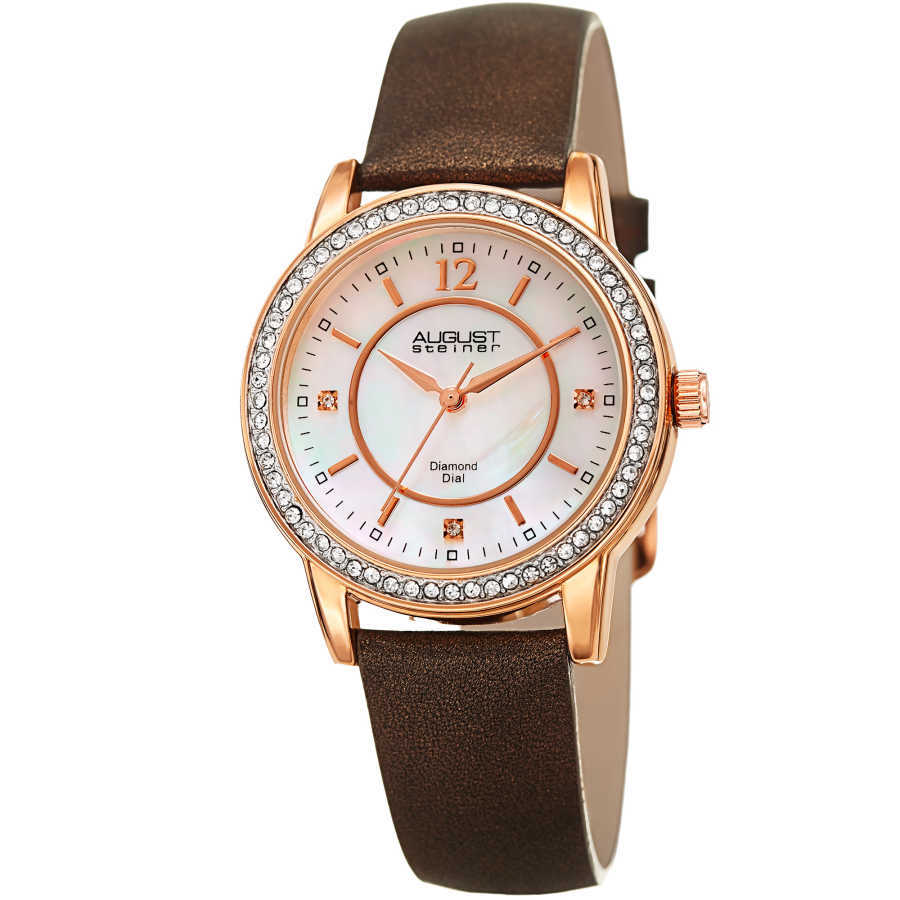 August Steiner Women's Genuine Diamond Mother of Pearl Leather Strap Watch AS8227BR