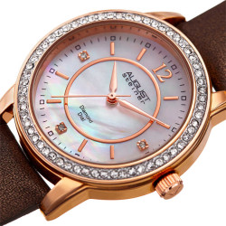 August Steiner Women's Genuine Diamond Mother of Pearl Leather Strap Watch AS8227BR - Thumbnail