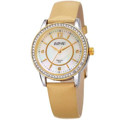 August Steiner - August Steiner Women's Genuine Diamond Mother of Pearl Leather Strap Watch AS8227GLD