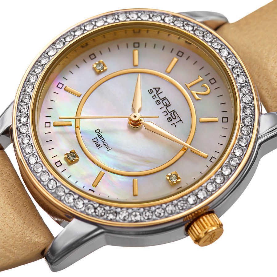 August Steiner Women's Genuine Diamond Mother of Pearl Leather Strap Watch AS8227GLD