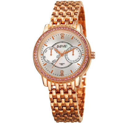 August Steiner - August Steiner Women's Genuine Diamond Mother of Pearl Multifunction Bracelet Watch AS8228RG