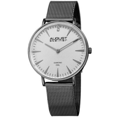 August Steiner - August Steiner Women's Genuine Diamond Slim Mesh Bracelet Watch AS8207GN