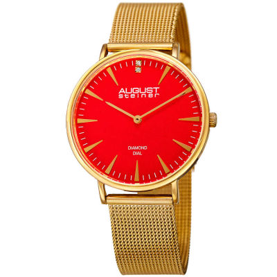 August Steiner - August Steiner Women's Genuine Diamond Slim Mesh Bracelet Watch AS8207YG