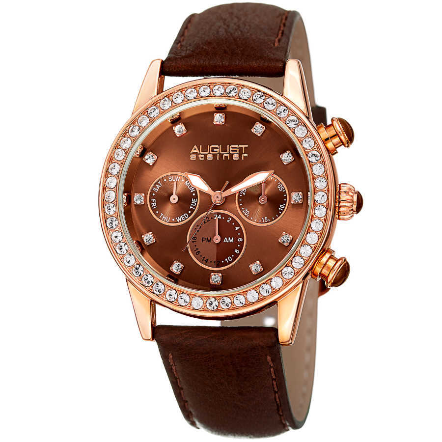 August Steiner Women's Genuine Swarovski Crystal Multifunction Leather Strap Watch AS8236BR