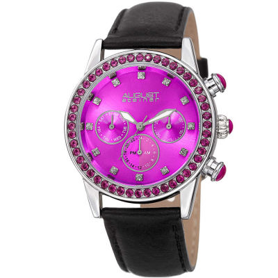 August Steiner - August Steiner Women's Genuine Swarovski Crystal Multifunction Leather Strap Watch AS8236PK