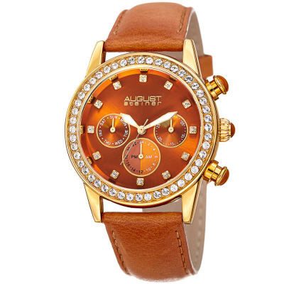 August Steiner - August Steiner Women's Genuine Swarovski Crystal Multifunction Leather Strap Watch AS8236TN