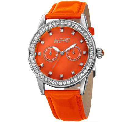 August Steiner - August Steiner Women's Genuine Swarovski Crystal Multifunction Patent Leather Strap Watch AS8234OR