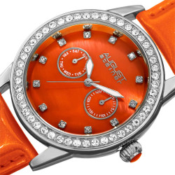 August Steiner Women's Genuine Swarovski Crystal Multifunction Patent Leather Strap Watch AS8234OR - Thumbnail