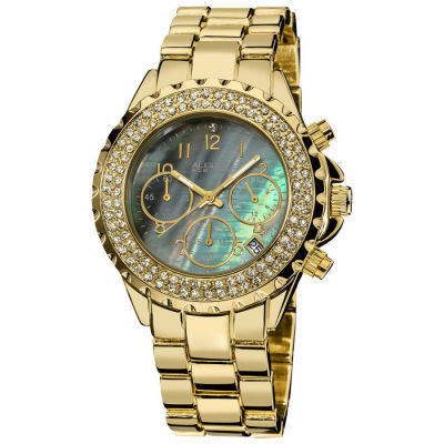 August Steiner - August Steiner Women's Goldtone Crystal MOP Chronograph Bracelet Watch AS8031YG