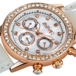 August Steiner Women's Ivory Multifunction Dazzling Strap Watch AS8018WT - Thumbnail
