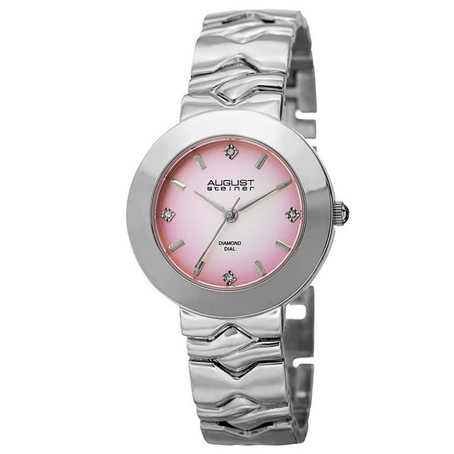 August Steiner Women's Japanese Quartz Diamond Markers Gradient Dial Bracelet Watch AS8157PK